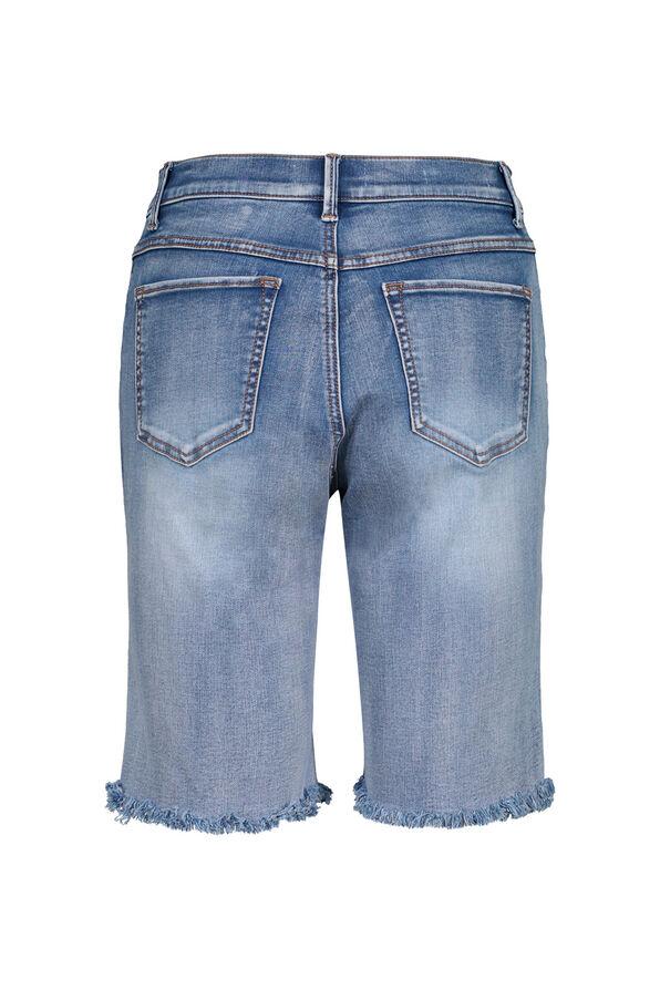 Audrey Denim Bermuda Short with Frayed Hem, Blue, original image number 1