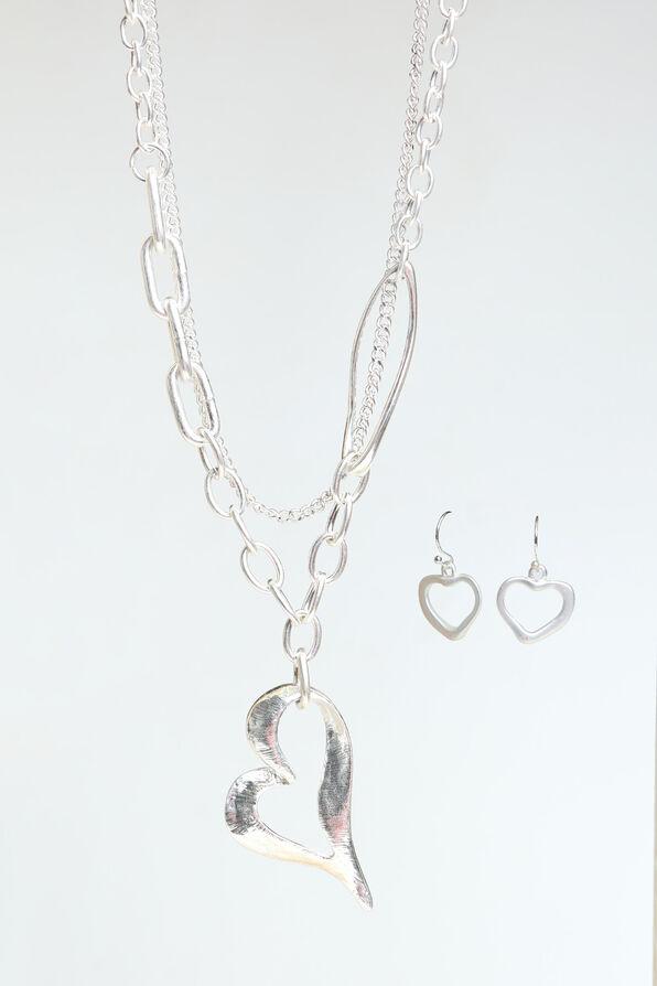 Chain Link Heart Necklace Set, Silver, original image number 0