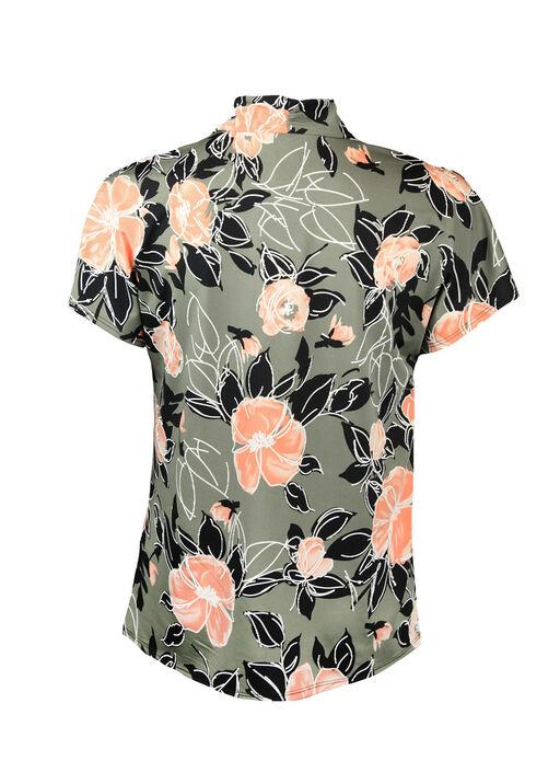 Cap Sleeve V-Neck Floral Print Top, Olive, original