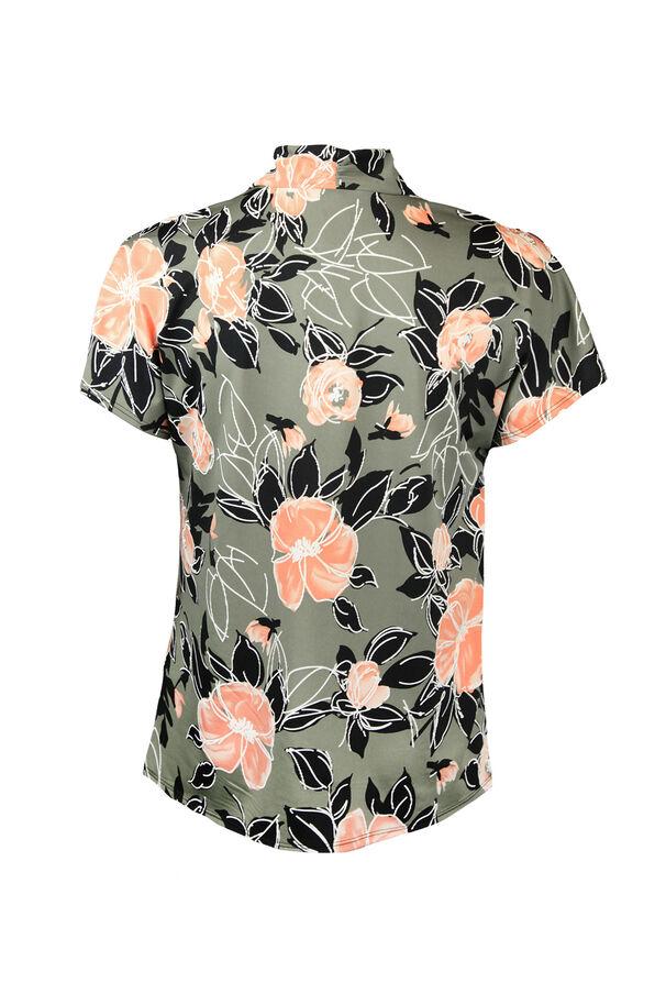Cap Sleeve V-Neck Floral Print Top, Olive, original image number 1