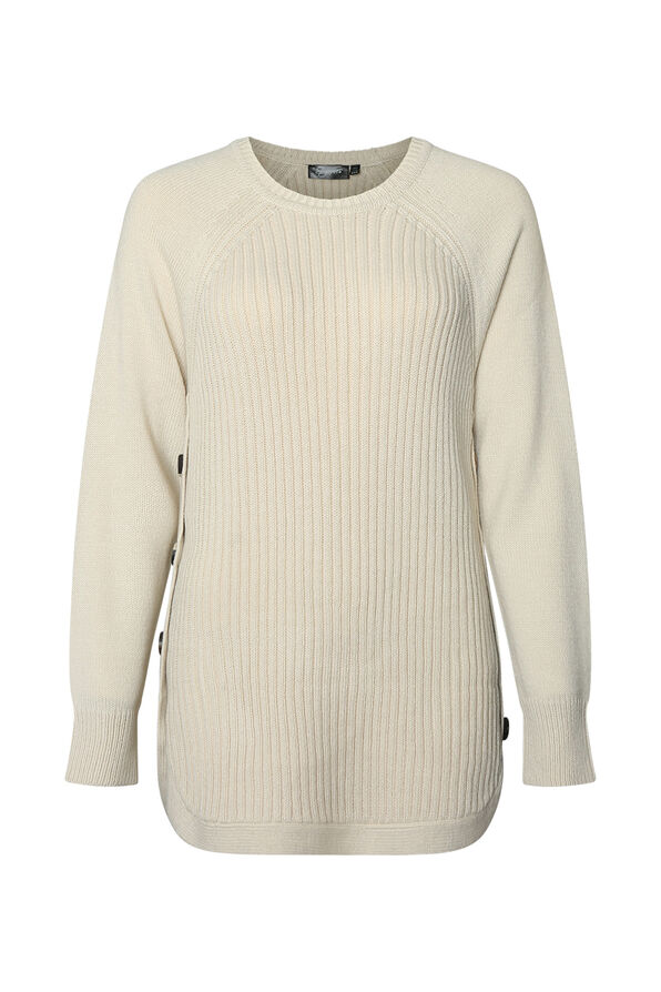 Cable Knit Sweater with Side Button, White, original image number 0