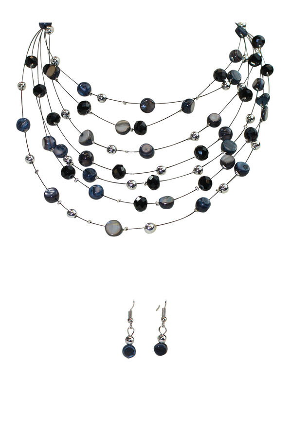 Multi-Strand Beaded Necklace and Earrings Set, Black, original image number 0