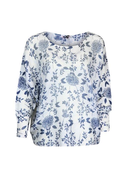 Floral Print Loose Weave Sweater , Navy, original