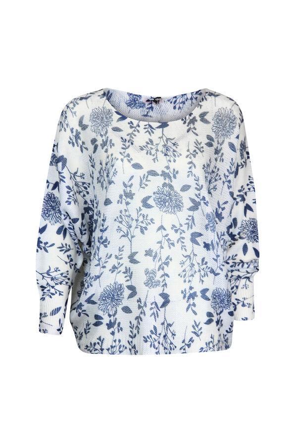Floral Print Loose Weave Sweater , Navy, original image number 0