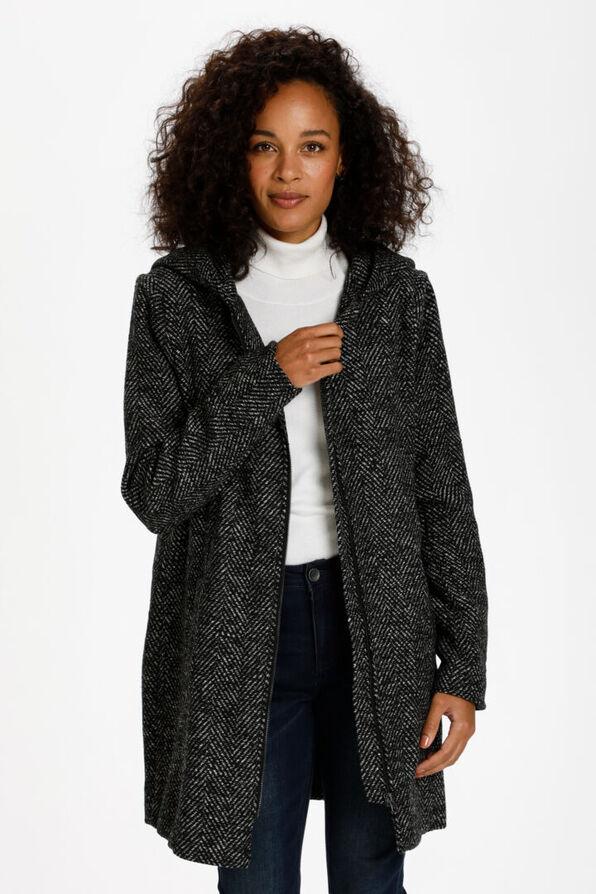 Stone Herringbone Coat, Grey, original image number 0