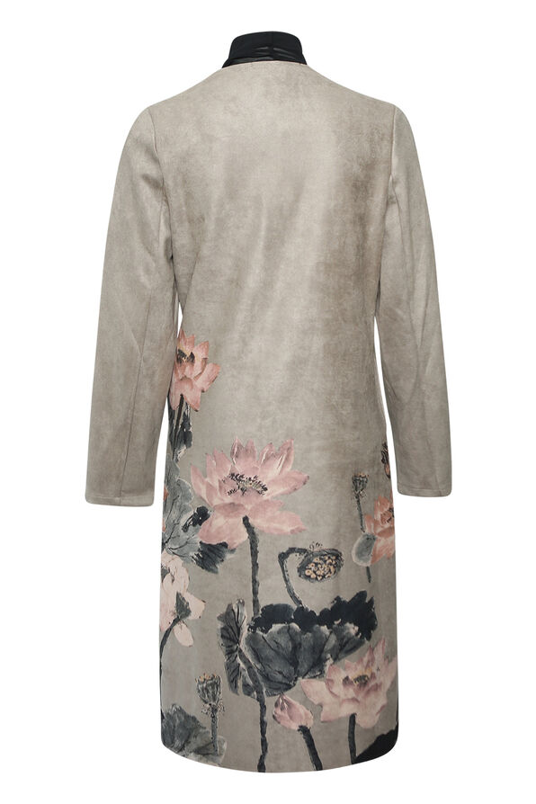 Shiloh Faux Suede Coat with Scarf, Grey, original image number 1