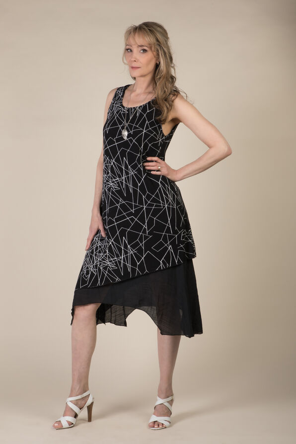 Geo Layered Dress, Black, original image number 0