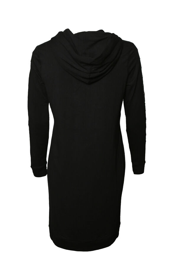 Studded-Sleeve Shirt Dress, Black, original image number 2