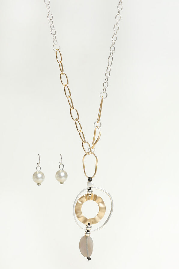 Silver and Gold Colour Necklace Set, Multi, original image number 0