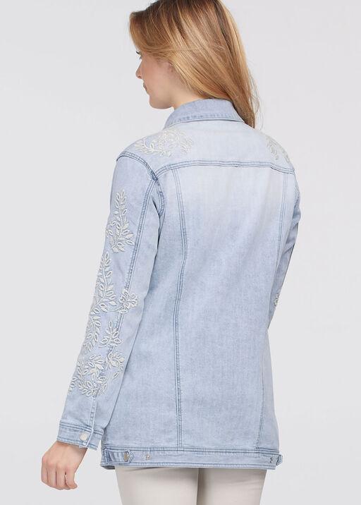 Ivory-Floral Embroidery Denim Jacket, Denim, original