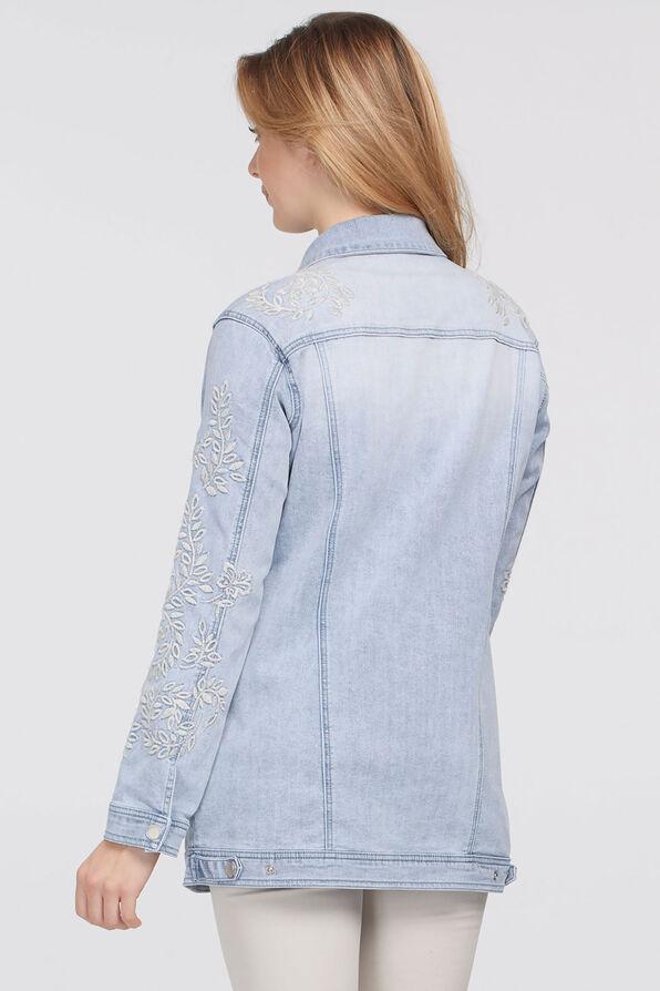 Ivory-Floral Embroidery Denim Jacket, Denim, original image number 1