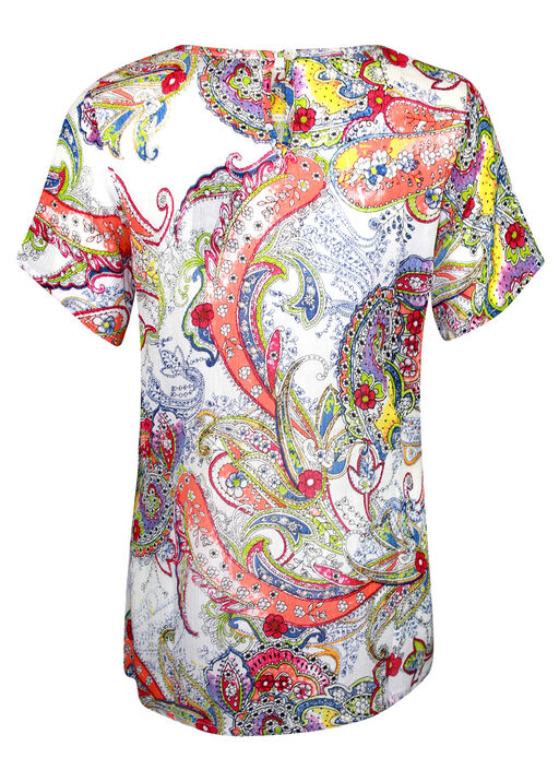 Paisley Print Short Sleeve Top, Multi, original