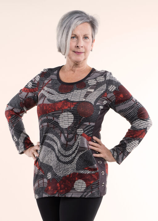 Print Knit Tunic Top, Red, original