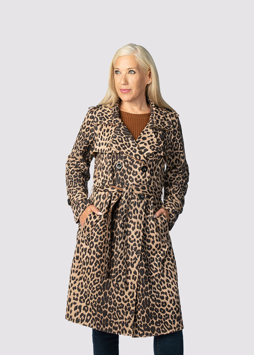 Animal Suede Coat , Brown, original