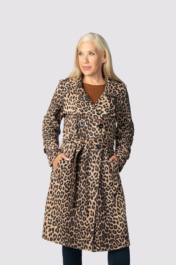 Animal Suede Coat , Brown, original image number 1