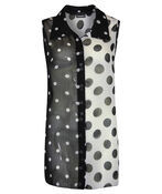 Sleeveless Polka Dot Chiffon Button Front Top, Black, original image number 0