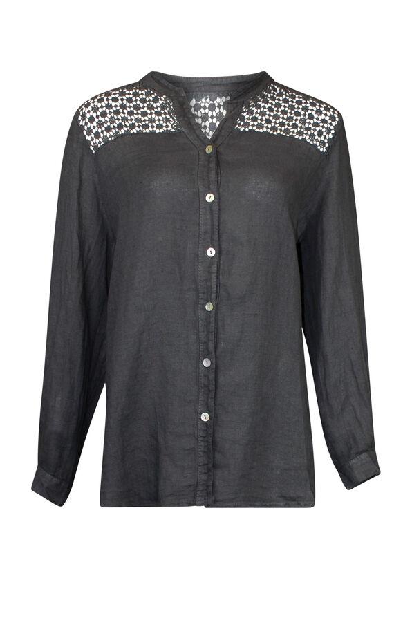 Crochet Shoulder Linen Top with button Front, , original image number 0
