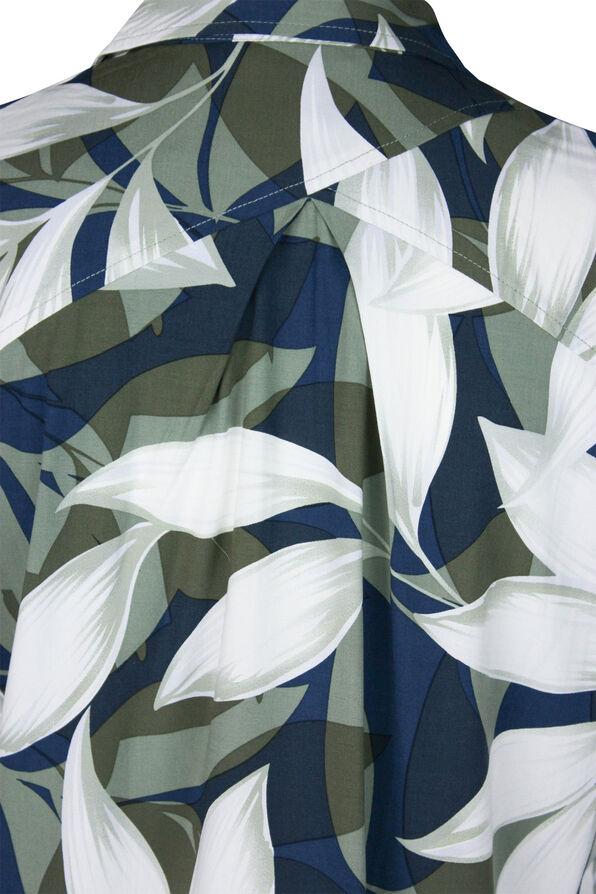Geo Leaf Print Long Sleeve Blouse, Green, original image number 3