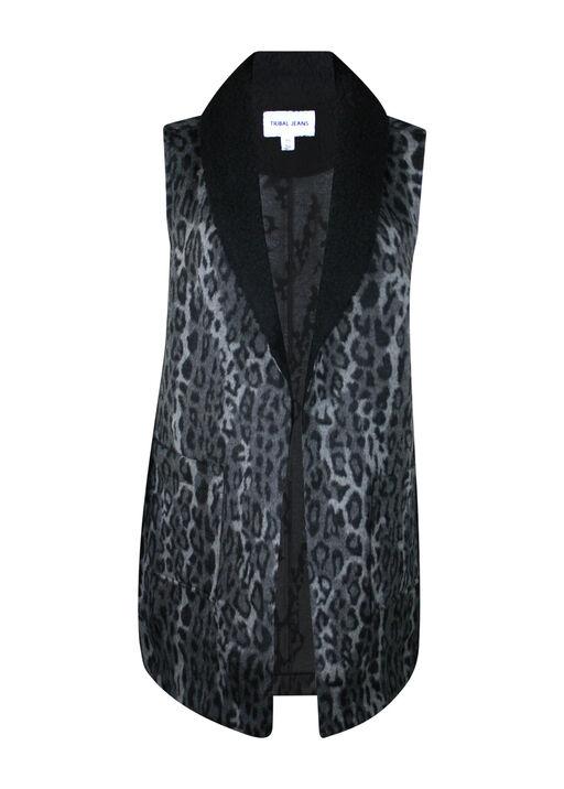 Animal Print Wool Blend Vest, Charcoal, original