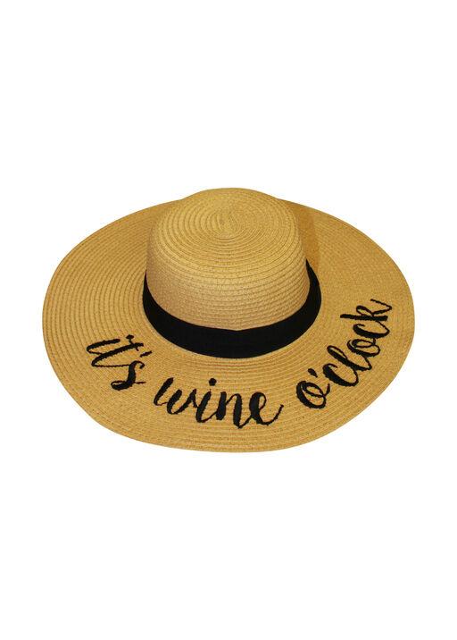 Wine O Clock Floppy Straw Sun Hat, Natural, original