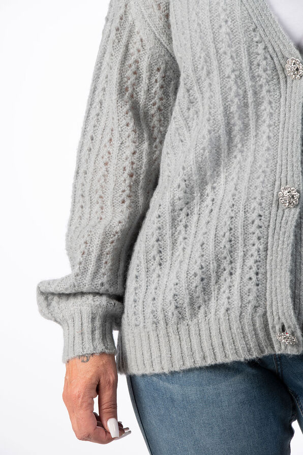 Pointelle Button Up Wool Cardigan, Blue, original image number 4