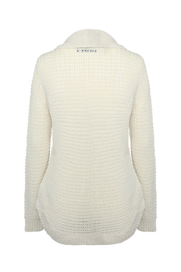 Sasha Cable Knit Sweater with Cowl Neck, Cream, original image number 1