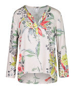 Floral with Bird Print Top with Roll Tab Sleeves , Multi, original image number 0