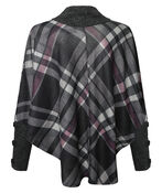 Plaid Poncho with Turtle Neck, Charcoal, original image number 1