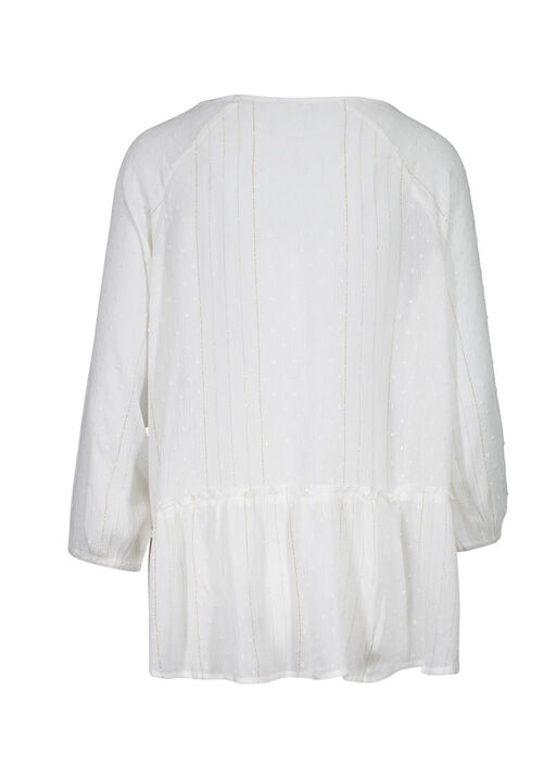 Swiss Dot and Lace Peasant Blouse, White, original