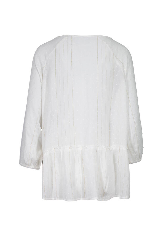 Swiss Dot and Lace Peasant Blouse, White, original image number 1