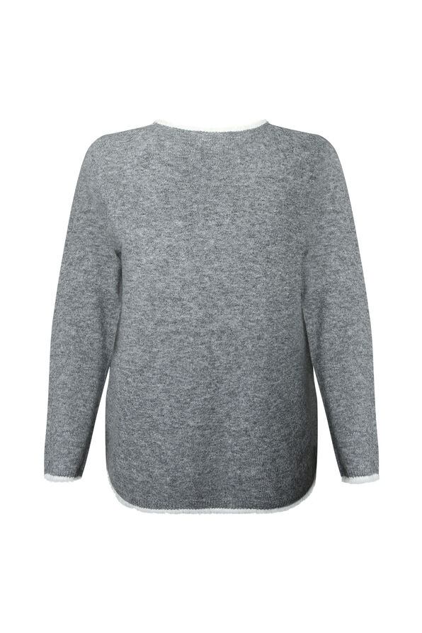 Eyelash Trim Sweater with Scarf, Grey, original image number 2
