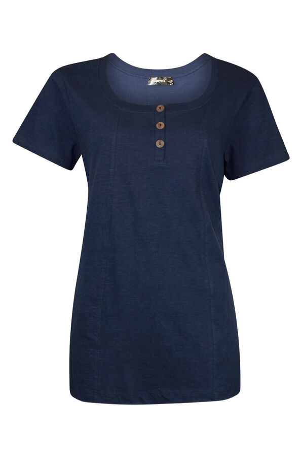 Cotton Short Sleeve T-Shirt with Coconut Buttons, , original image number 1