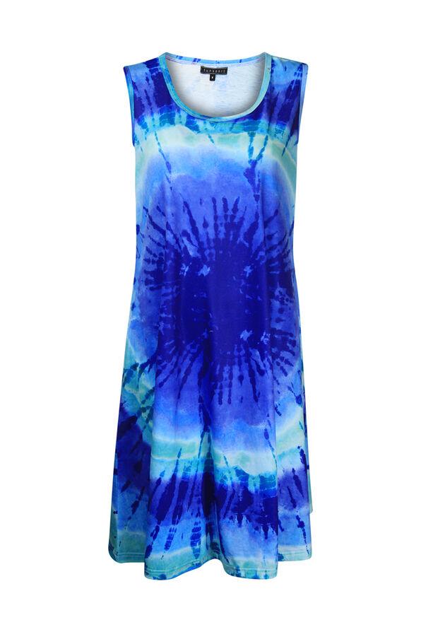 Sleeveless Tie Dye Dress, Indigo, original image number 0
