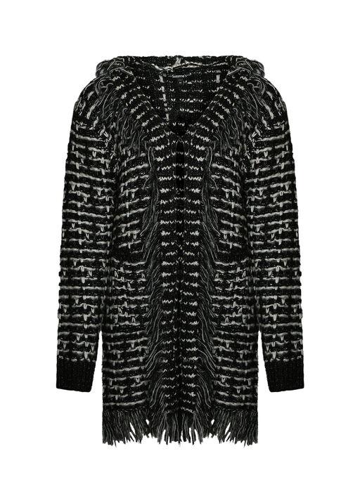 Tweed Like Cardigan with Fringe, Black, original