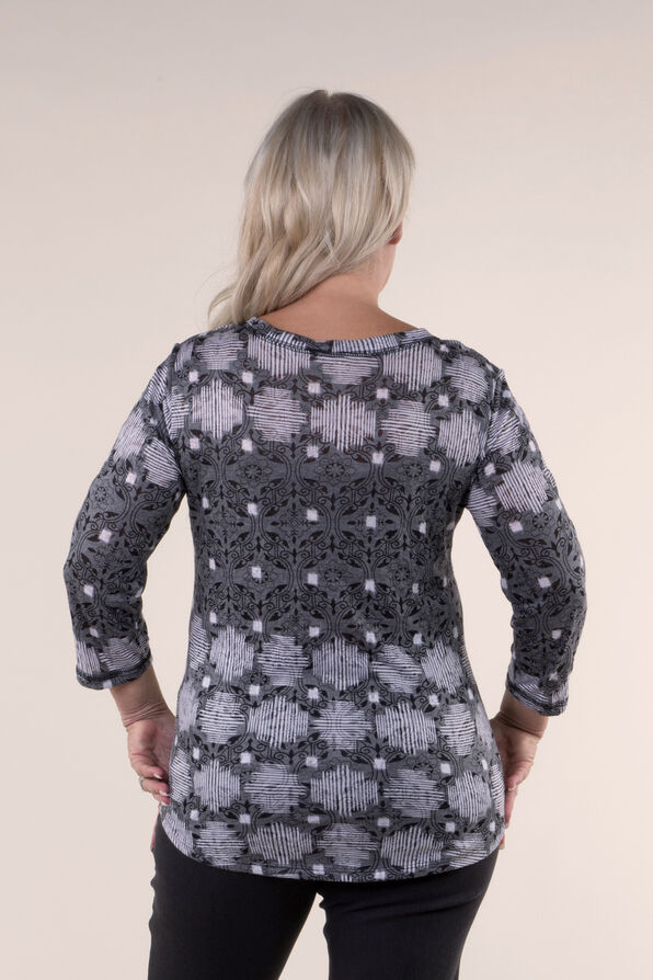 Burnout Crinkle Print Top, Grey, original image number 1