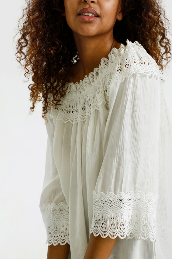 Cream Bea Lace Peasant Blouse, White, original image number 3