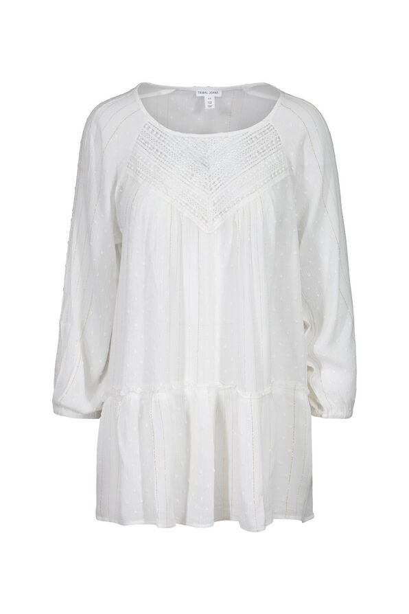 Swiss Dot and Lace Peasant Blouse, White, original image number 0