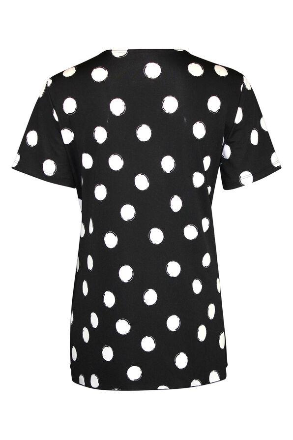 Pintuck Polka Dot Short Sleeve Top, Black, original image number 1