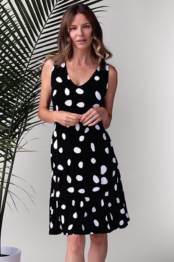 Polka Dot Sleeveless Dress, Black, original image number 0