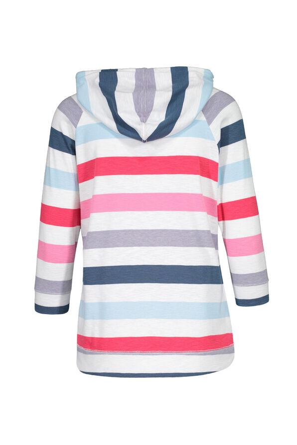Striped Hooded 3/4 Sleeve Shirt, Multi, original image number 1
