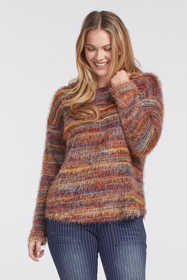 Space-Dye Eyelash Sweater, Rust, original image number 2