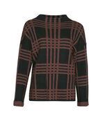 Plaid Mock Neck Sweater, Rust, original image number 0
