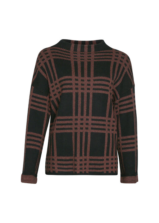 Plaid Mock Neck Sweater, , original