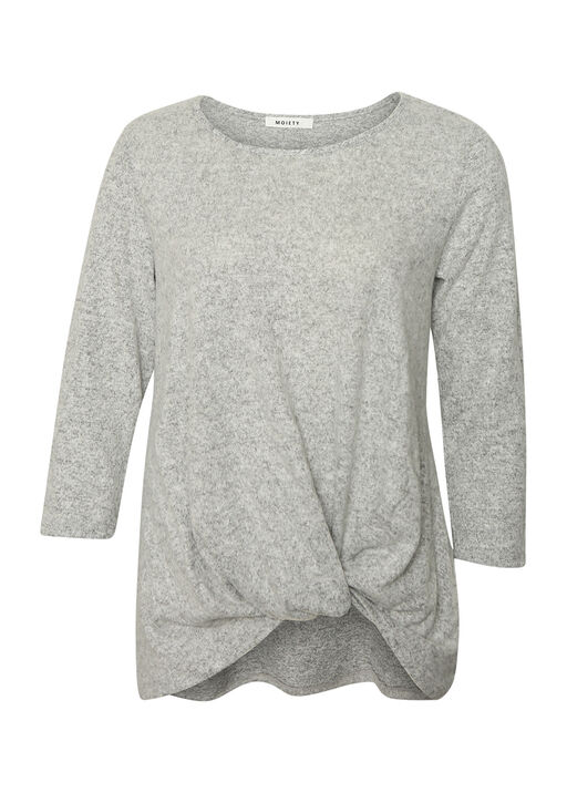 Butter Fleece Knotted 3/4 Sleeve Top, , original
