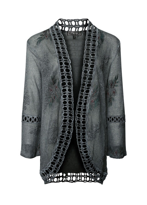 Embordered Flower Print Cardigan , Grey, original