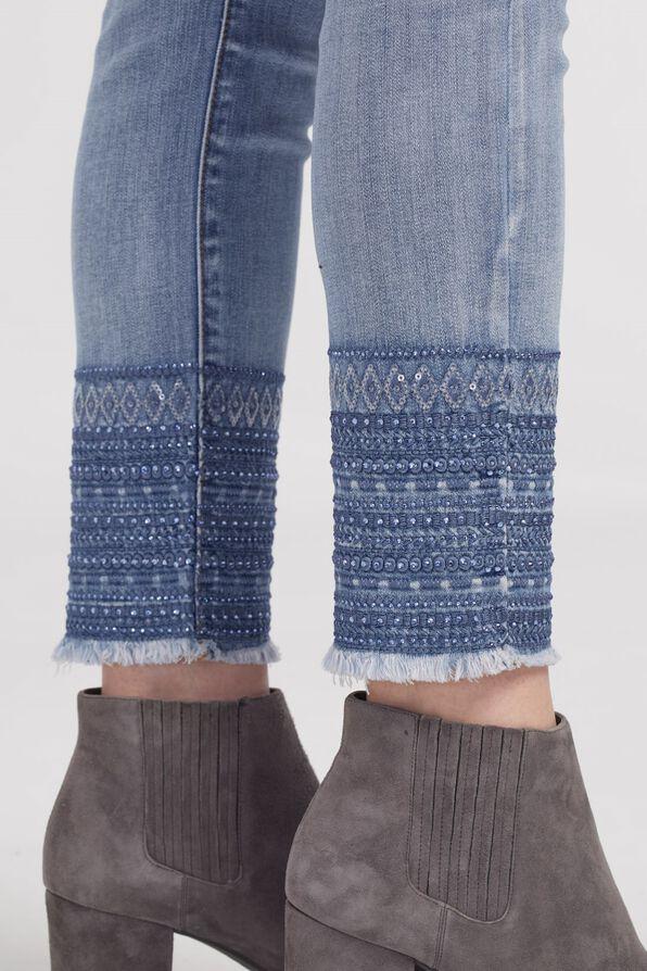 Hem Adorned Pull-On Jean, Denim, original image number 2