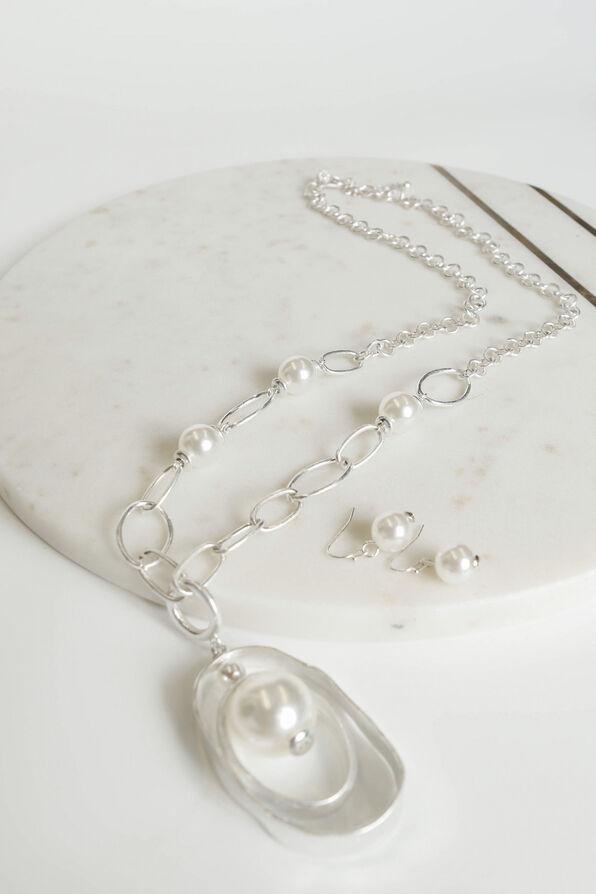 Double Drop Long Necklace Set , Silver, original image number 1