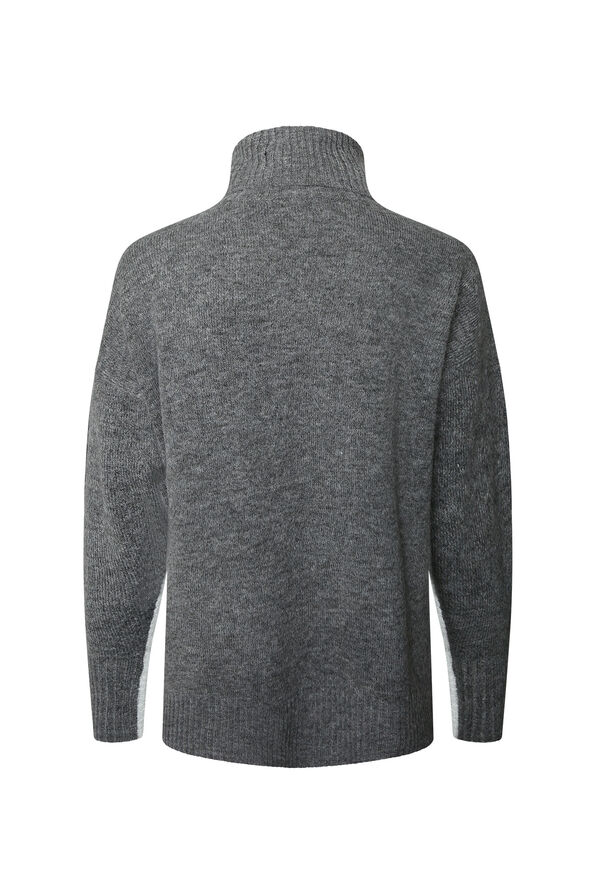 Amirah Relaxed Fit Turtle Neck Sweater, Grey, original image number 1