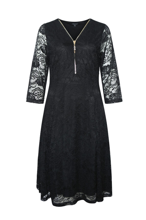 Lace Dress 3/4 Sleeve Fit and Flare, Black, original image number 0