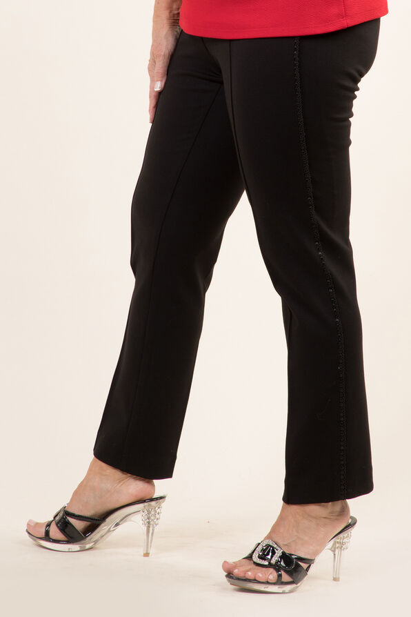Lace Trim Trouser, Black, original image number 2